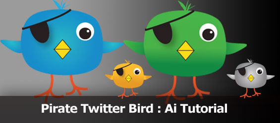 Create cute Pirate Twitter bird in Illustratorcs4
