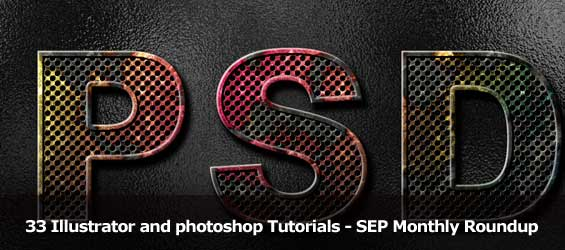 Roundup-33 Illustrator and photoshop Tutorials for sep month