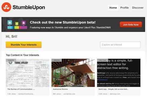 Stumbleupon Beta 2012 Redesigned