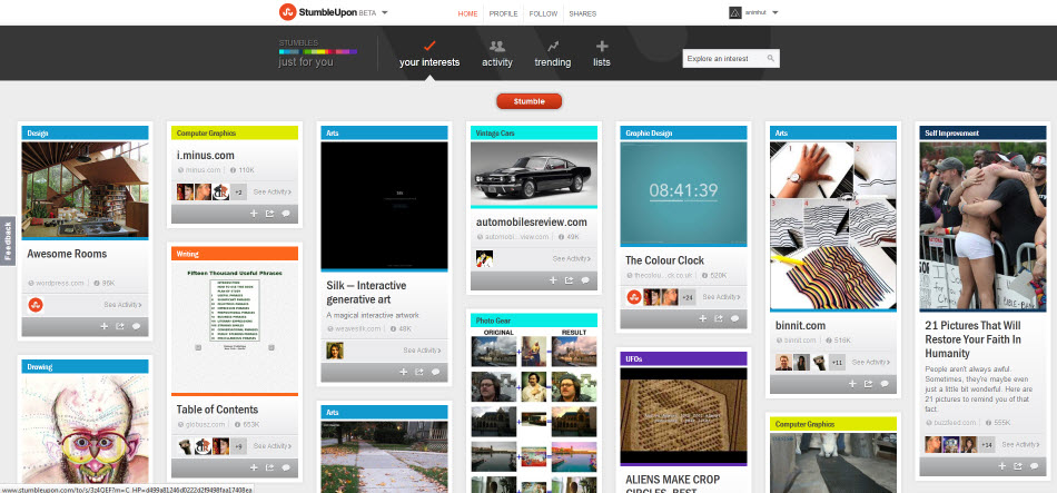 StumbleUpon Interest based on your Filters