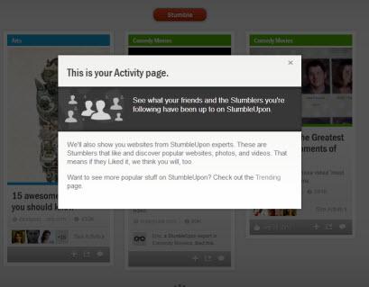StumbleUpon Activity page