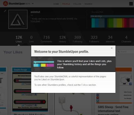 Stumbleupon New Profile 2012