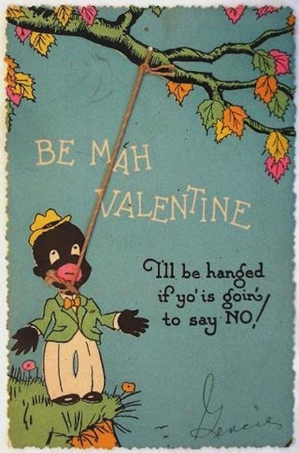 sick Racism Vintage Valentines Card