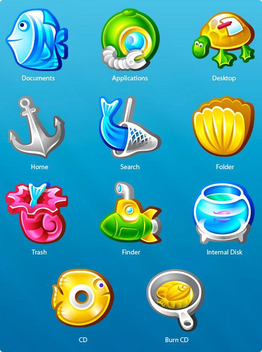 Complete set of ocean deep icons