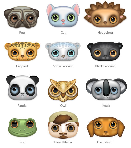 Icons with big eyes