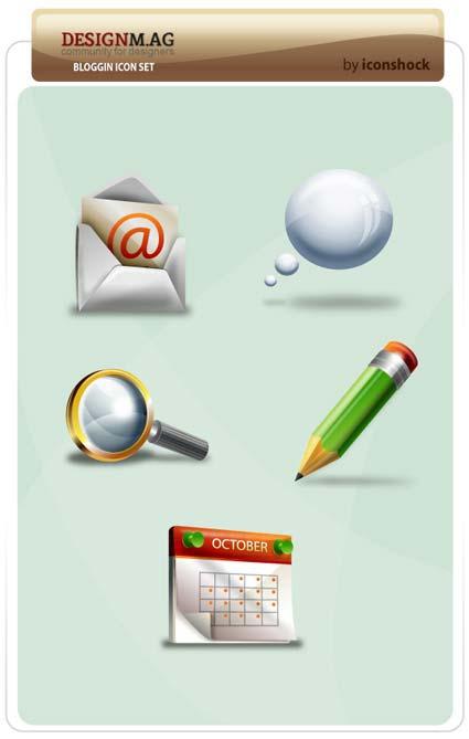 blogging icon set