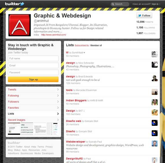 Twitter List and member View tab