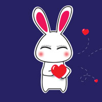 2012 Valentine's Adorable Bunny Vector Wallpaper Collection
