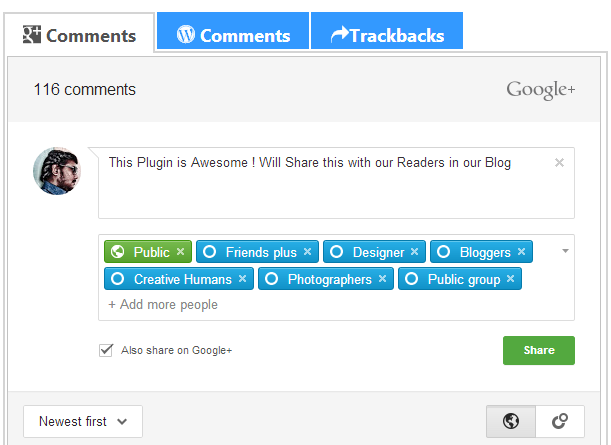 Download Google+ Comments Plugin for WordPress Blog