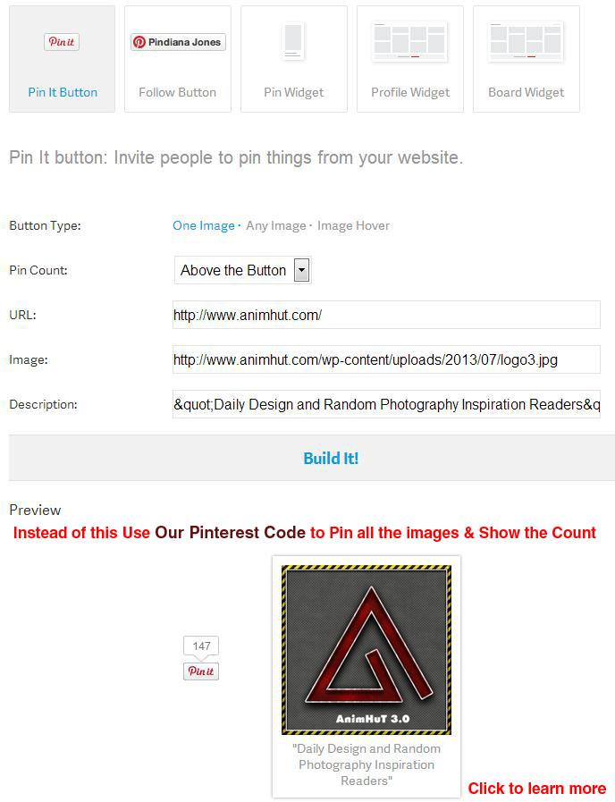 Use New AnimHuT Customized Pinterest Code