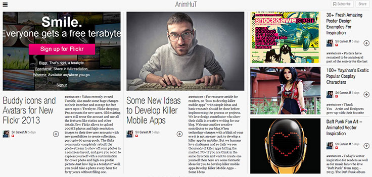 preview of animhut.com in Flipboard