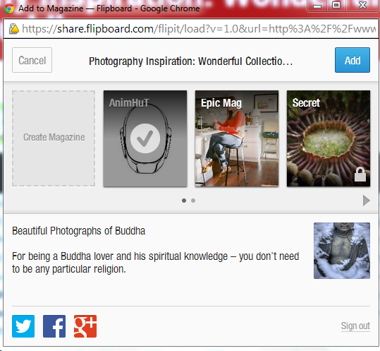 Share AnimHuT Content in Flipboard