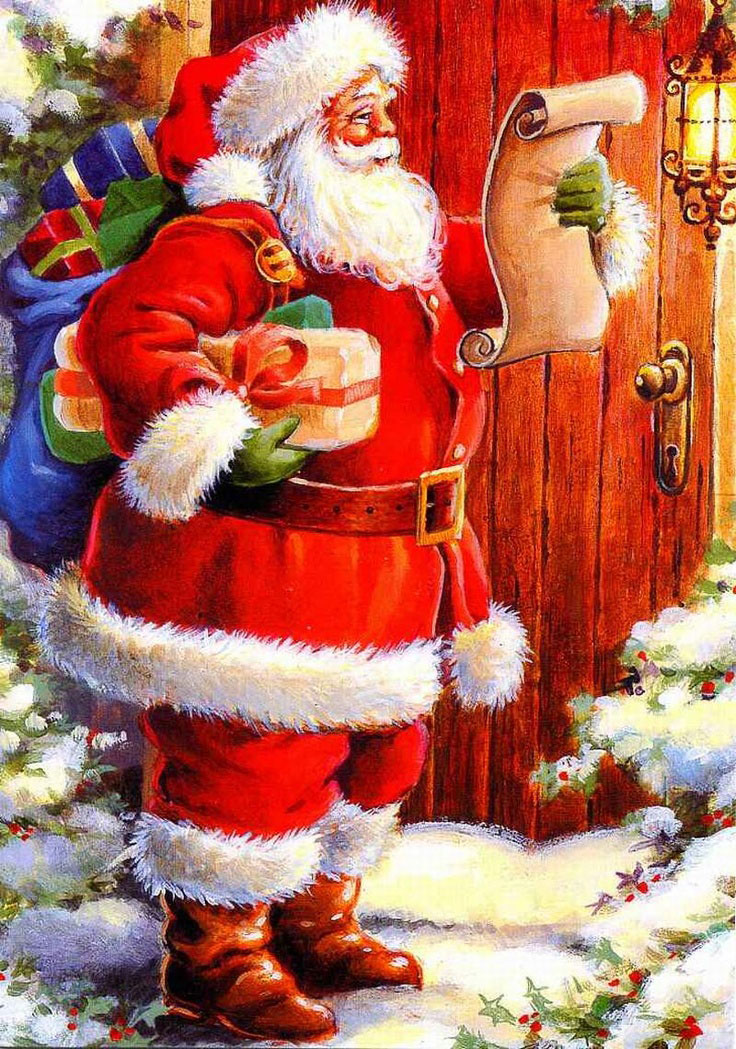 Antique Christmas Santa Postcards  and Vintage Illustrations (21)