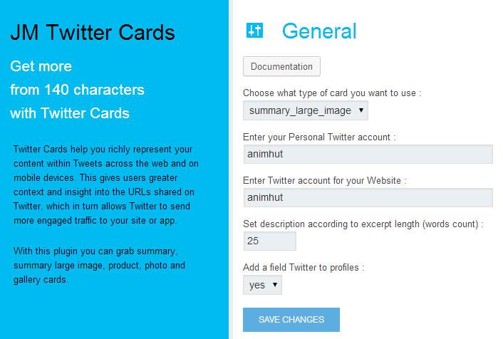 Twitter Card Summary Large Card Settings