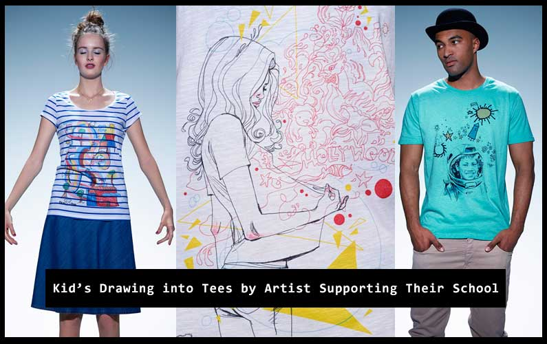 Kid's Drawing into Tees by Artist Which Support Their School