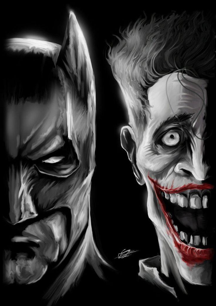 digital illustration of batman and joker