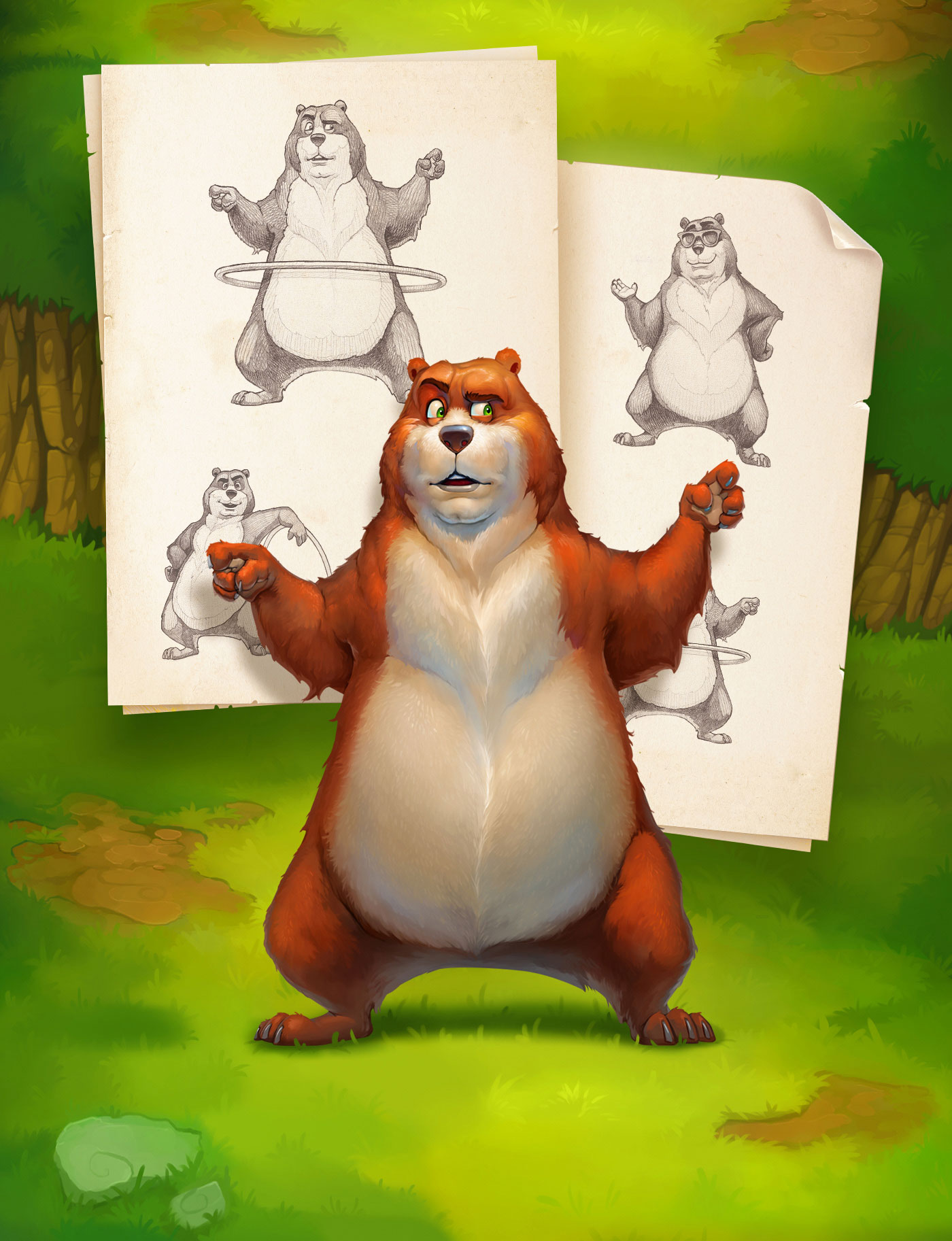 Character Design inspiration of HulaBear